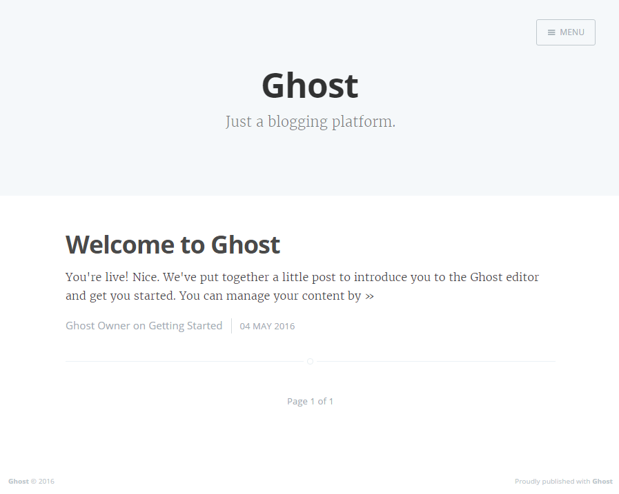 Ghost Blog Homepage